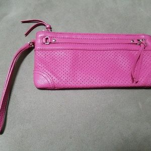 Banana Republic Perforated Leather Clutch Pink